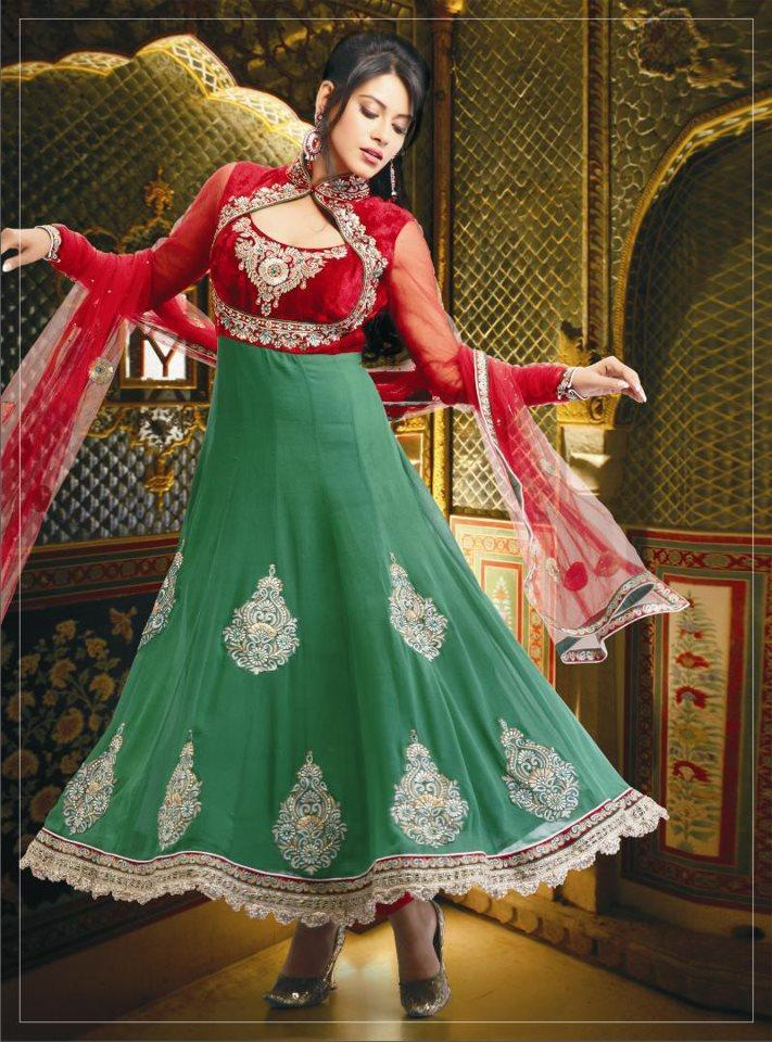 Green Anarkali frock Designs For Summer
