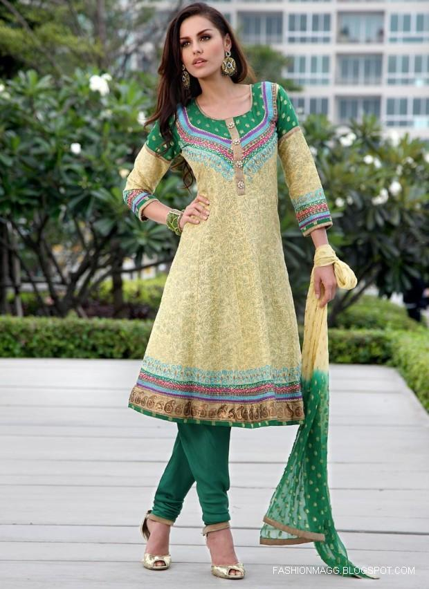Green  And Lemon Anarkali frock