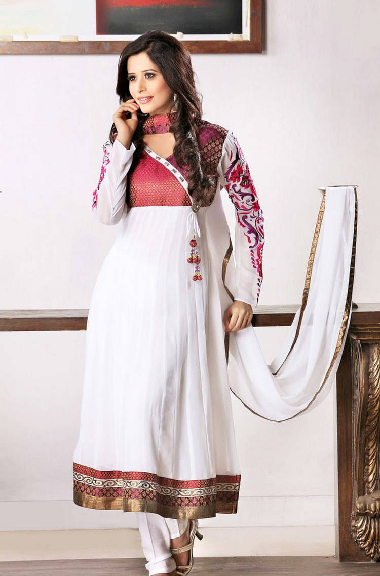 White Frock With Churidar