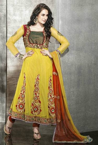 Yellow Red Frock Designs