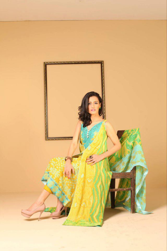 Yellow&green Ayesha Somaya Lawn Dress