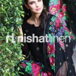 beautiful black dress by Nishat Linen 2013  Summer Collection