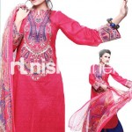 blue and dark pink dress by Nishat Linen 2013  Summer Collection