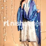 blue & cream dress by Nishat Linen 2013  Summer Collection
