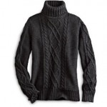 cable knit turtleneck Black sweaters