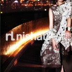chocolate and white dress by Nishat Linen 2013  Summer Collection