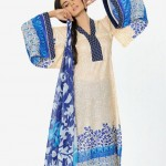 cream and blue dress by HSY NATION Summer 2013