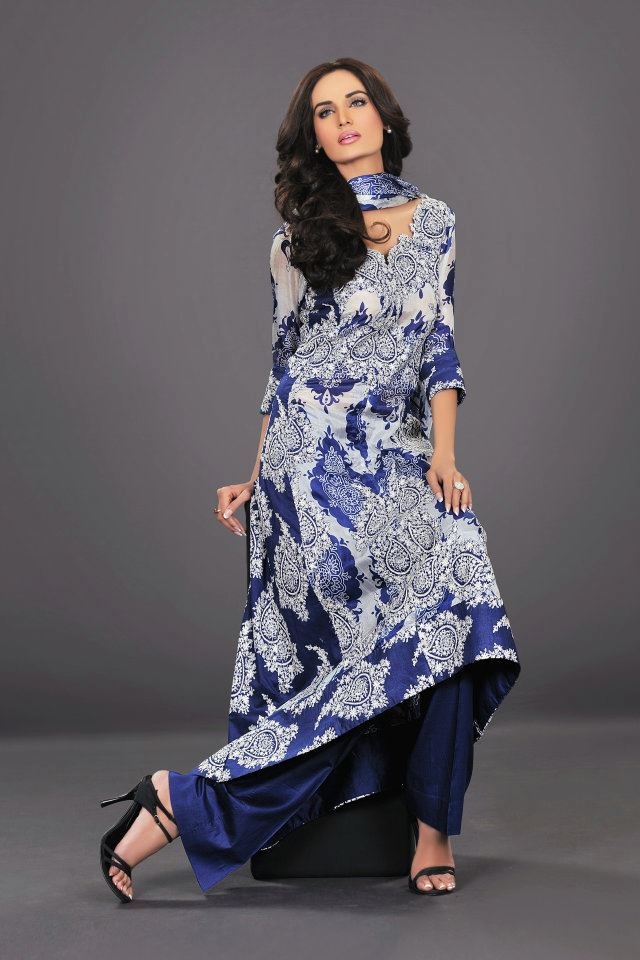 dark blue with white contras by The World Of HSY PrintsSummer 2013
