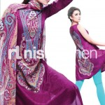 dark purple and sky blue dress by Nishat Linen 2013  Summer Collection