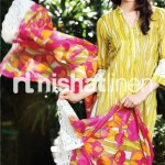 dark yellow and pink dress by Nishat Linen 2013  Summer Collection
