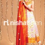 orange and black dress by Nishat Linen 2013  Summer Collection