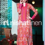 orange and pink dress by Nishat Linen 2013  Summer Collection