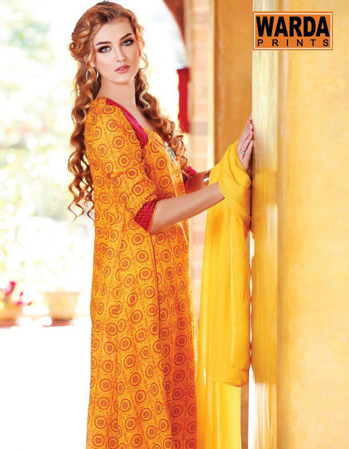 orange dress of Warda Lawn Collection 2013