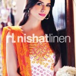 orange, yellow & cream conttras by Nishat Linen 2013  Summer Collection