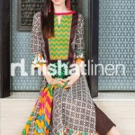 parot and chocolate dress design by Nishat Linen 2013  Summer Collection
