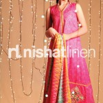 pink and orange dress by Nishat Linen 2013  Summer Collection