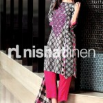 pink, white and black dress by Nishat Linen 2013  Summer Collection