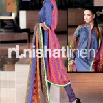 purple and blue conttras dress by Nishat Linen 2013  Summer Collection