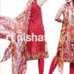 red and skin conttras dress by Nishat Linen 2013  Summer Collection