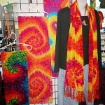 red and yellow tie dye scarf