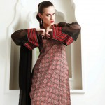 skin and black dress by Warda Lawn Collection 2013