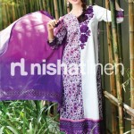 white and purple dress by Nishat Linen 2013  Summer Collection