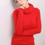 womens red Leading Turtle Neck Fashion Sweater