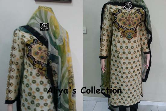 Aliya Naeem Party Wear Lawns Stitched Dress 2013