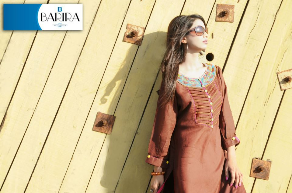 Brown Barira Collection Spring Summer Dress