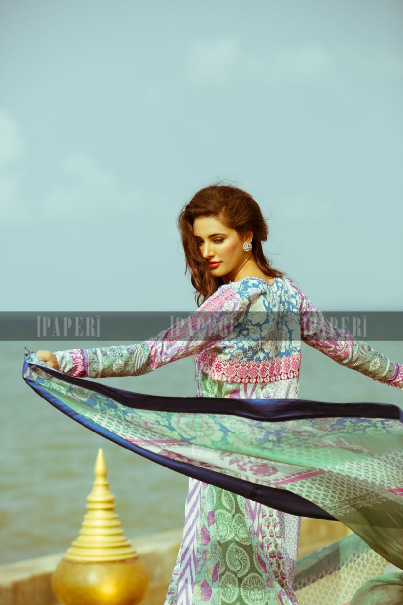 Elan Lawn dress in light color