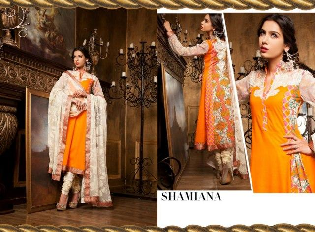 Orange And White Fahad Hussayn Couture Lawn