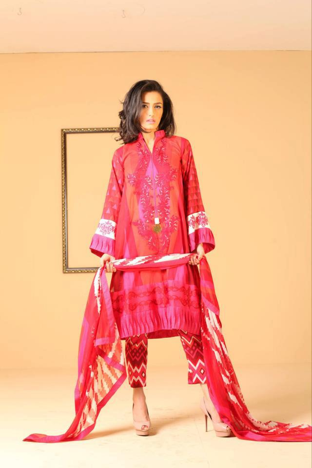 Red Ayesha Somaya Lawn Dress