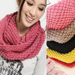 Women Knited Hood Neck Circle Cowl Wool Scarf