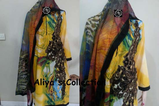 Yellow Aliya Naeem Lawns Stitched Dress