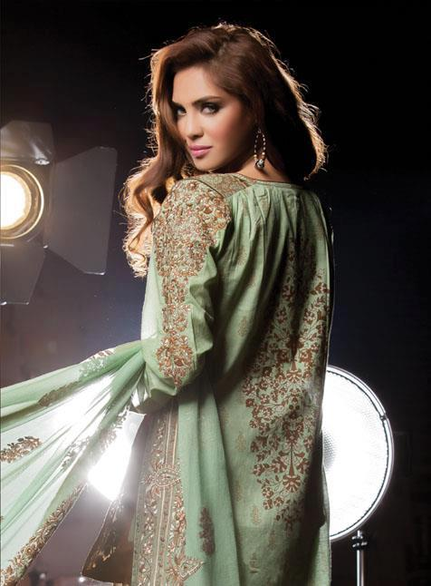 beautiful parot dress by Al-Karam Allure-Summer Collection 2013