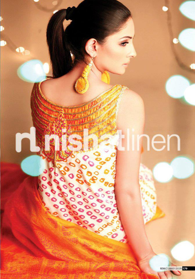 cream and yellow dress by Nishat Linen 2013  Summer Collection