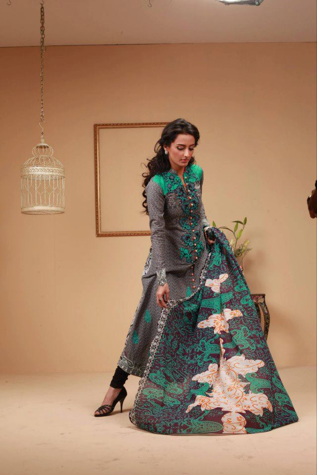 dark gray Ayesha Somaya Lawn Dress