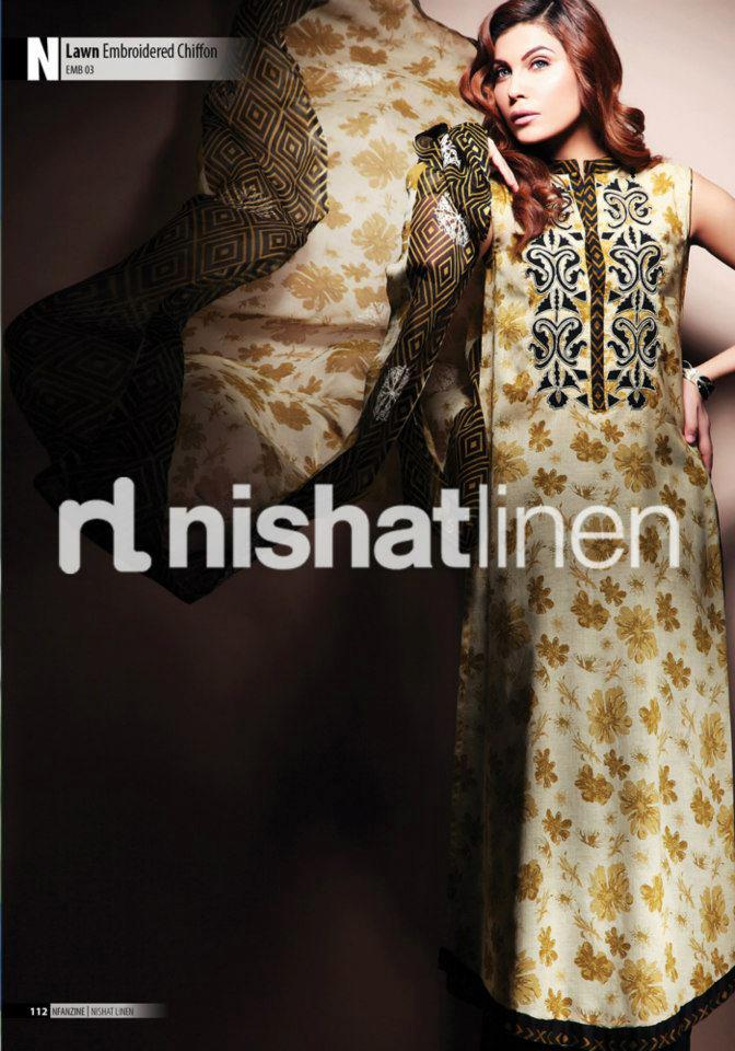 green dress by Nishat Linen 2013  Summer Collection