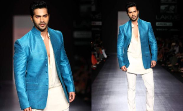 varun dhawan in blue dress