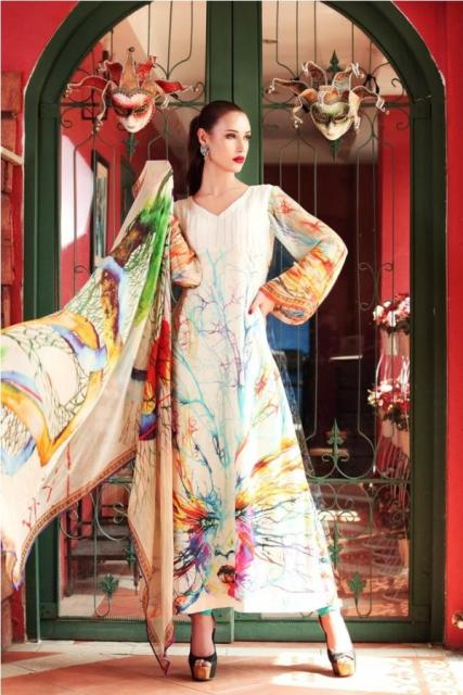 white Moon Textile Lawn Dress
