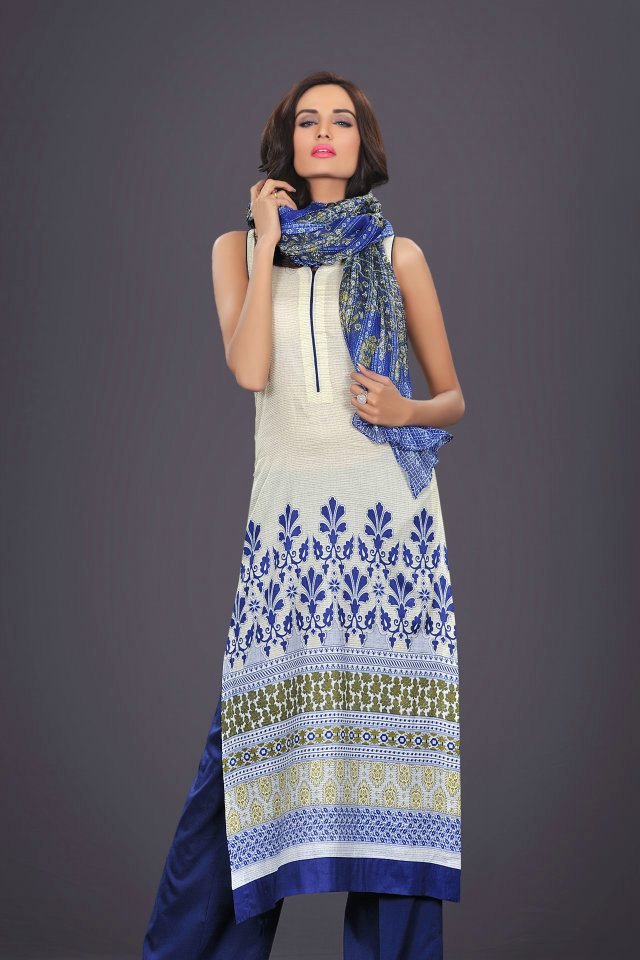 white and blue dress by The World Of HSY PrintsSummer 2013